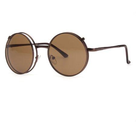 Cool Flip Up Lens Steampunk Vintage Retro Style Round Sunglasses Brown Lens