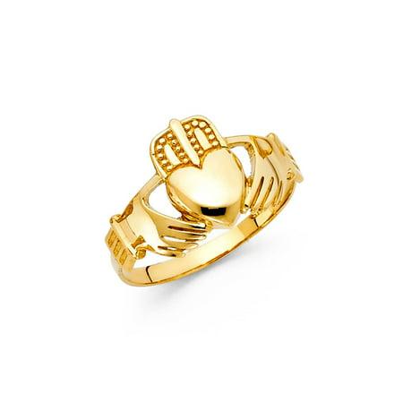 White Gold Irish Claddagh Ring - Men's 14K Solid Yellow Gold Claddagh Irish Ring, Size 8.5