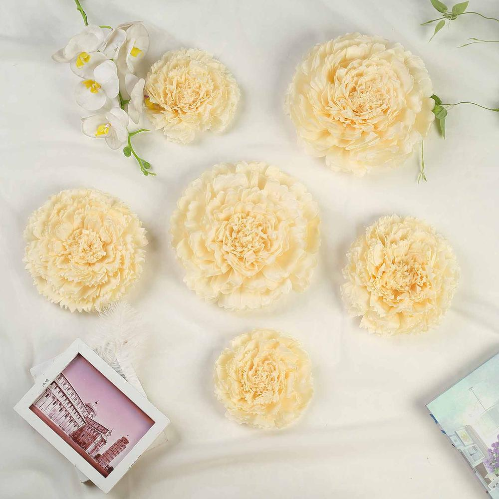 "Efavormart 6 Multi Size Pack | Carnation 3D Wall Flowers Giant Paper Flowers - 7"",9"",11"""