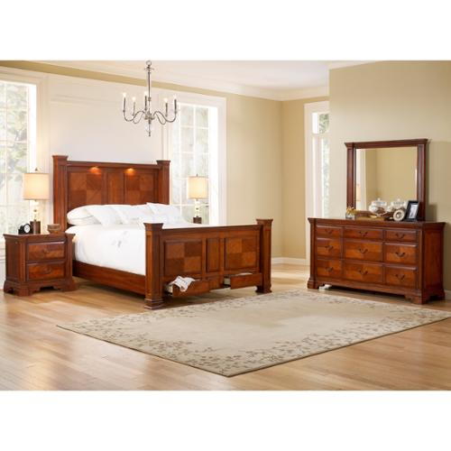 Smithfield Bed Dresser Mirror Nightstands Bedroom Set Queen Bed, Dresser, Mirror, Two Nightstands
