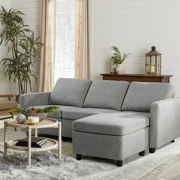 Walnew Modern Linen Fabric L Shaped, Small Apartment Sofa