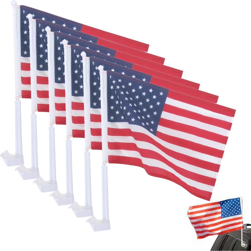 "6 United States American Flag Patriotic Car Window Clip on USA Flag 20"" x 12"""