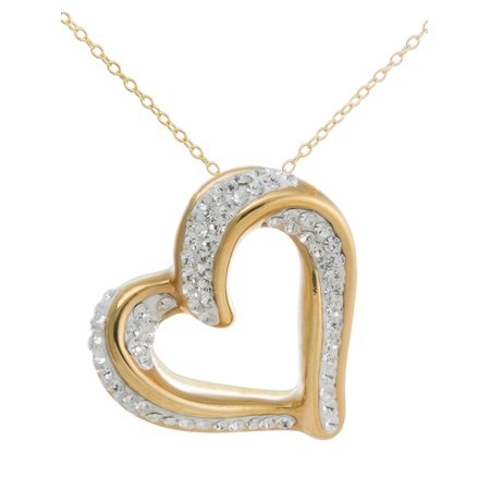 Sterling Silver Couples Name Heart Pendant (Crystal 18kt Gold over Sterling Silver Slide Heart Pendant,)