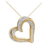 Deals on Gold over Sterling Silver Slide Heart Pendant, 18-inch