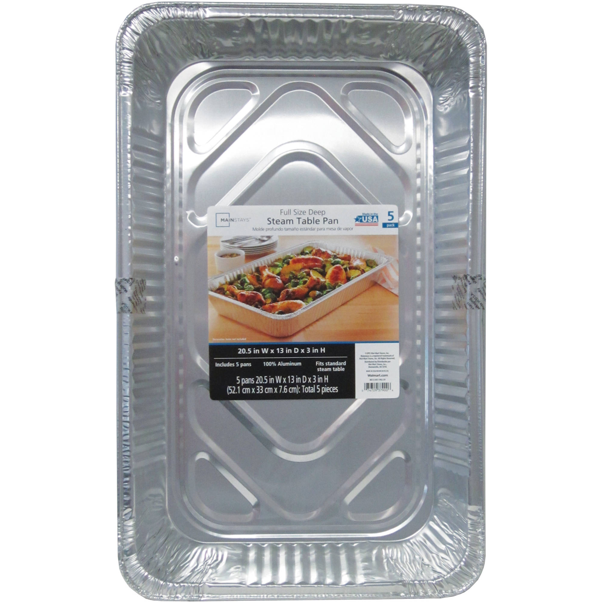 Mainstays Full-Size Deep Steam Pans, 5-Pack