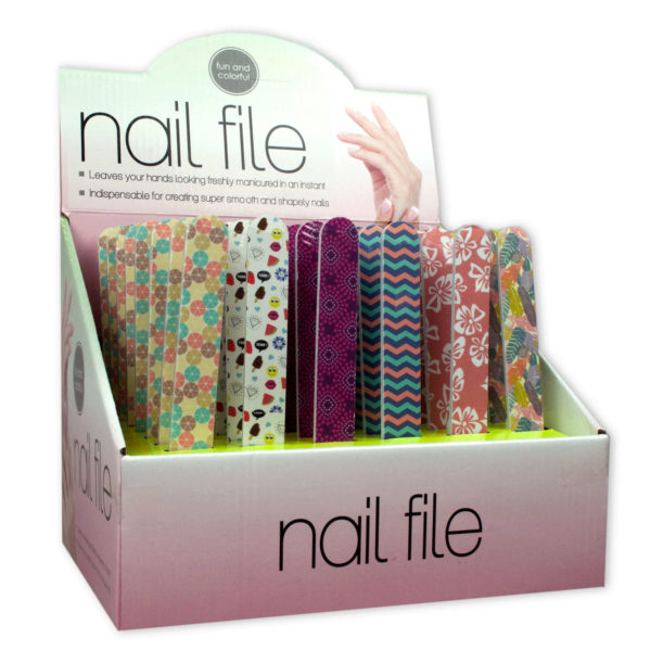 Bulk Buys Stylish & Fun Nail Files Countertop Display, Case of 48
