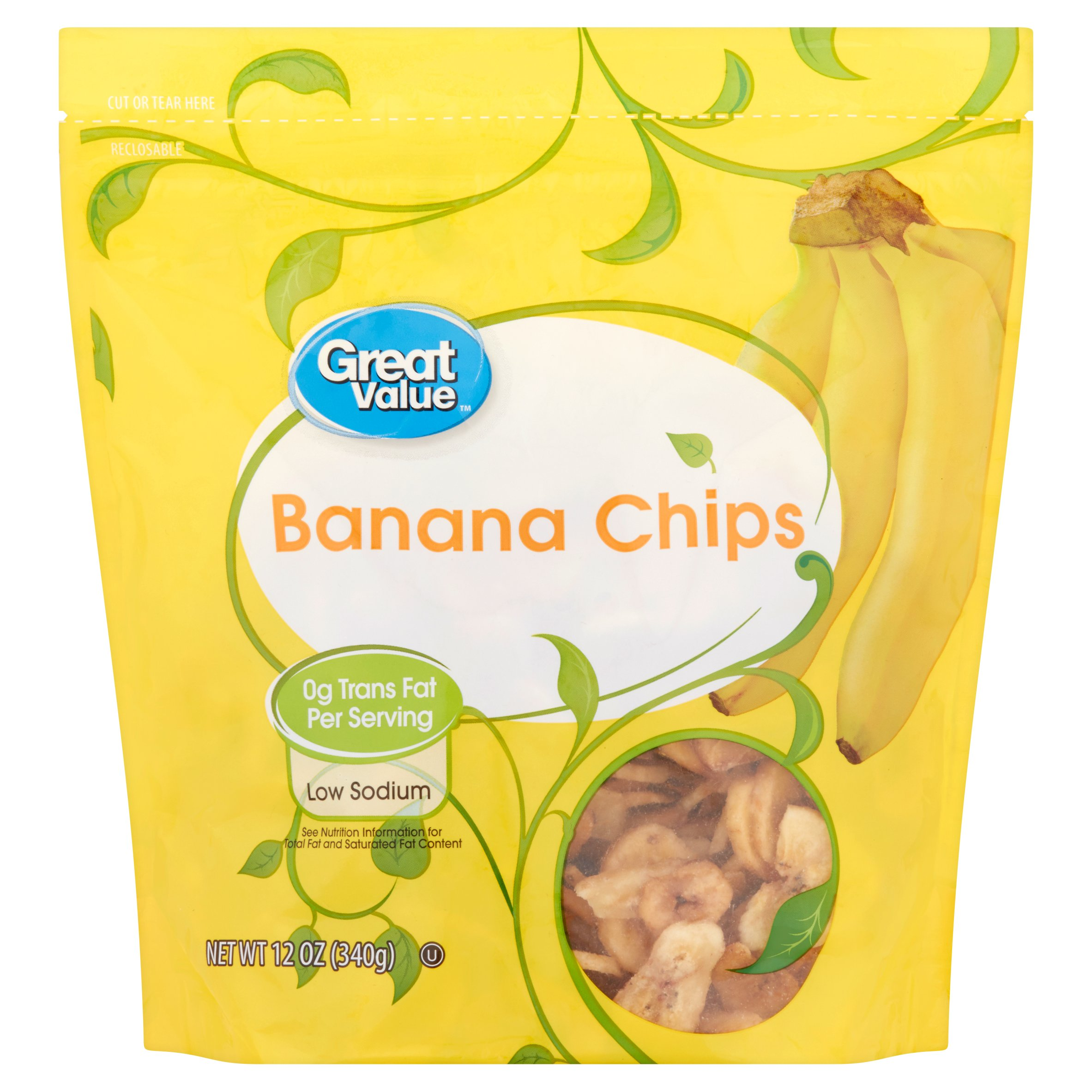 Great Value Banana Chips, 12 oz