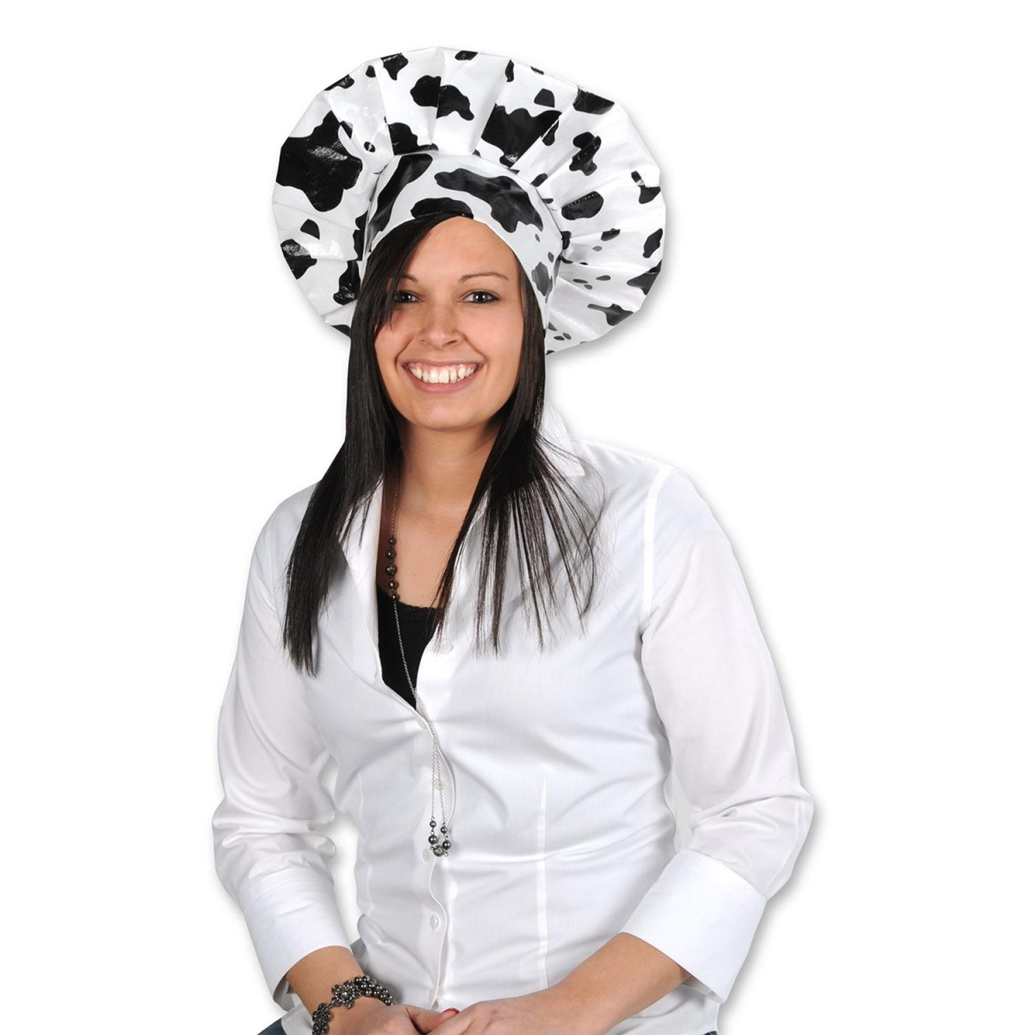 Club Pack of 12 Black and White Cow Spots Print Chef's Toque Hats