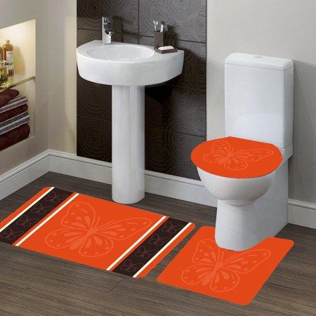 3-PC (#7) Butterfly Orange HIGH QUALITY Jacquard Bathroom Bath Rug Set Washable Anti Slip Rug 18