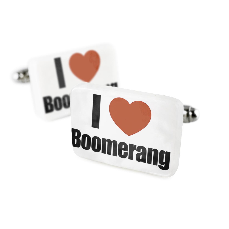 Cufflinks I Love BoomerangPorcelain Ceramic NEONBLOND