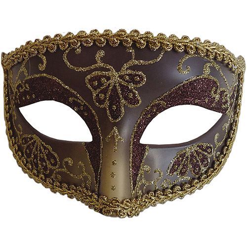 Burgundy and Gold Opera Eye Mask Adult Accessory
