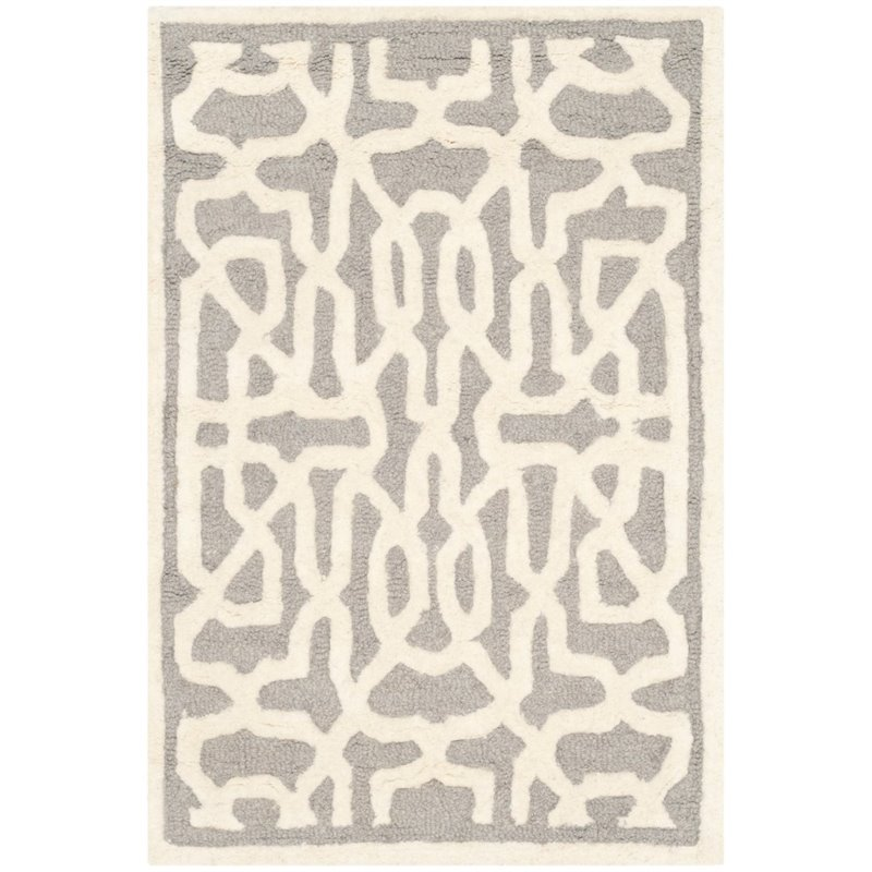 Safavieh Cambridge 6' X 9' Hand Tufted Wool Rug in Silver and Ivory - image 10 de 10