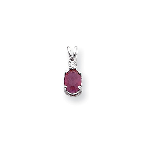 14k White Gold Ruby Diamond pendant. Carat Wt- 0.052ct. Gem Wt- 1.11ct