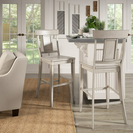 Weston Home Farmhouse Vintage Panel Back Solid Wood Bar Height Chair, Set of 2, Multiple Finishes