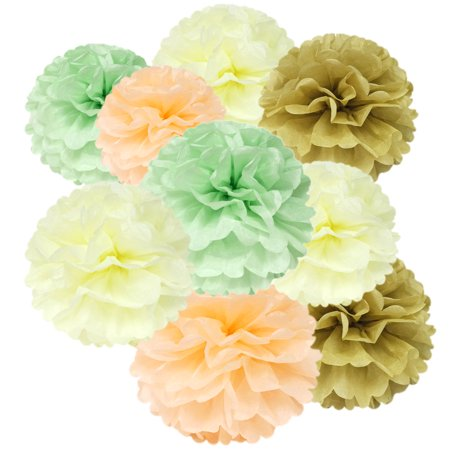 Wrapables® Set of 12 Tissue Pom Pom Party Decorations for Weddings, Birthday Parties Baby Showers and Nursery Decor, Ivory/Peach/Mint/Tan - Party Decorations Baby Shower
