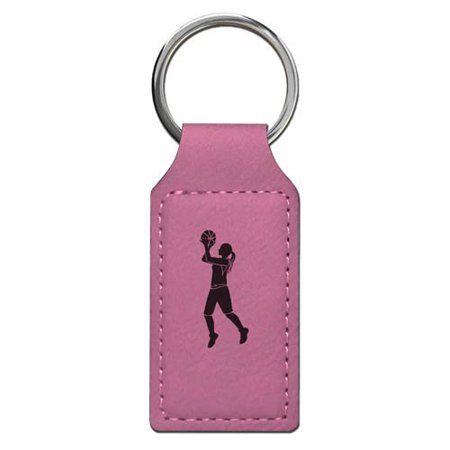Keychain - Basketball Player Woman - Personalized Engraving Included (Pink Rectangle)