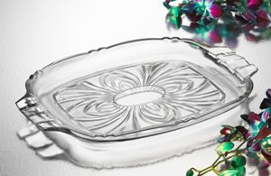 """12"""" Pavone Crystal Rectangular Serving Display Tray Platter with Handles by Studio Silversmiths"""