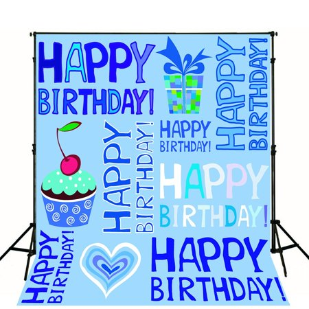 MOHome Polyster 5x7ft Cream Cake Photo Background Backdrop for Boy Birthday Party Light Blue Theme Baby Photography Background - Toddler Boy Birthday Party Themes