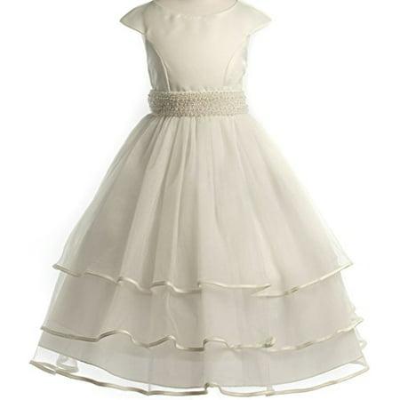 Communion Flowers (Big Girls' Cap Sleeve Pearl Accented Communion Flowers Girls Dresses Ivory)