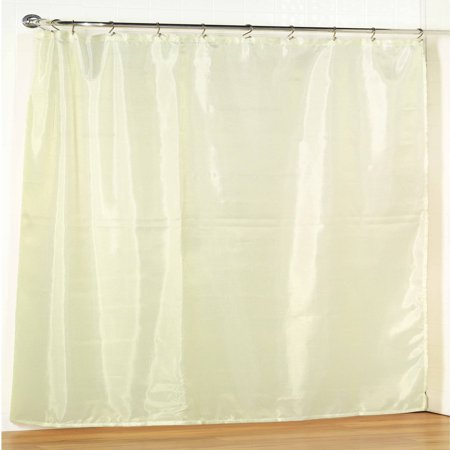Ivory Extra Wide Fabric Shower Curtain Weighted Hem Water Resistant 108W X 72L