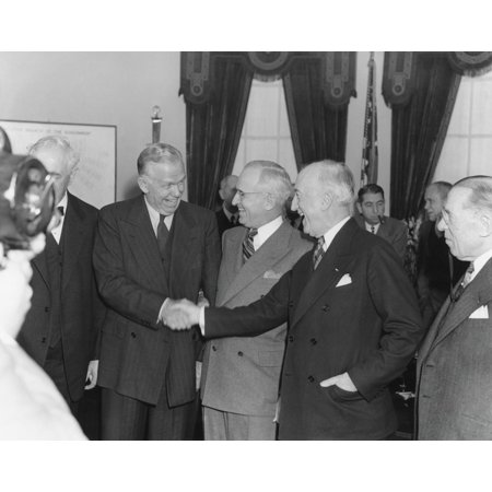 James Byrnes Congratulating George Marshall Upon His Swearing In As Secretary Of State The Smiles Masked Tension Between President Truman And Byrnes History](Presidents Mask)