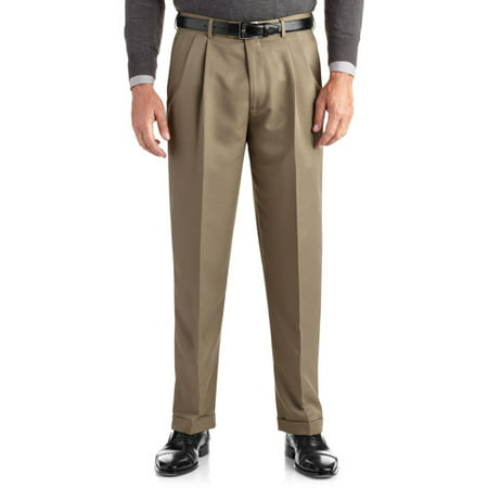 George Big Men's Pleated Cuffed Microfiber Dress Pant With ...