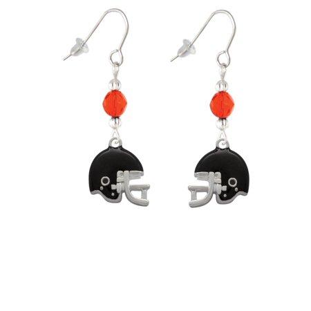 Blank Football Helmet (Small Black Football Helmet Orange Bead French)