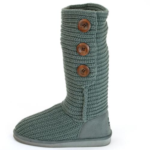 womens boots rib knit 3 button slouch faux suede crochet