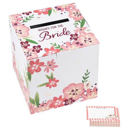 Wishes For The Bride Box 10 x 10 Inches with 50 Advice Cards for Wedding Receptions