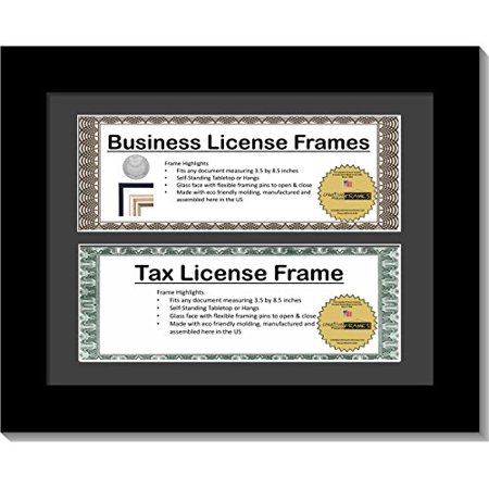 CreativePF [DL8.5x11bk-b] Satin Black Double Business License Frame with Two 3x8.5-inch Opening Mat Including Easel Stand and Wall Hangers