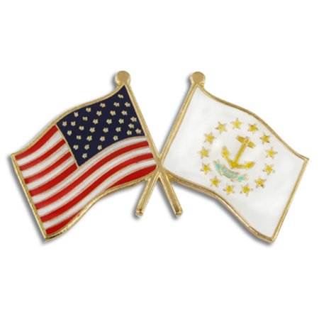 Rhode Island and USA Crossed Friendship Flag Enamel Lapel Pin