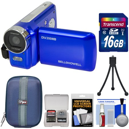 Bell & Howell DV200HD HD Video Camera Camcorder with Built-in Video Light (Blue) with 16GB Card + Case + Mini Tripod +