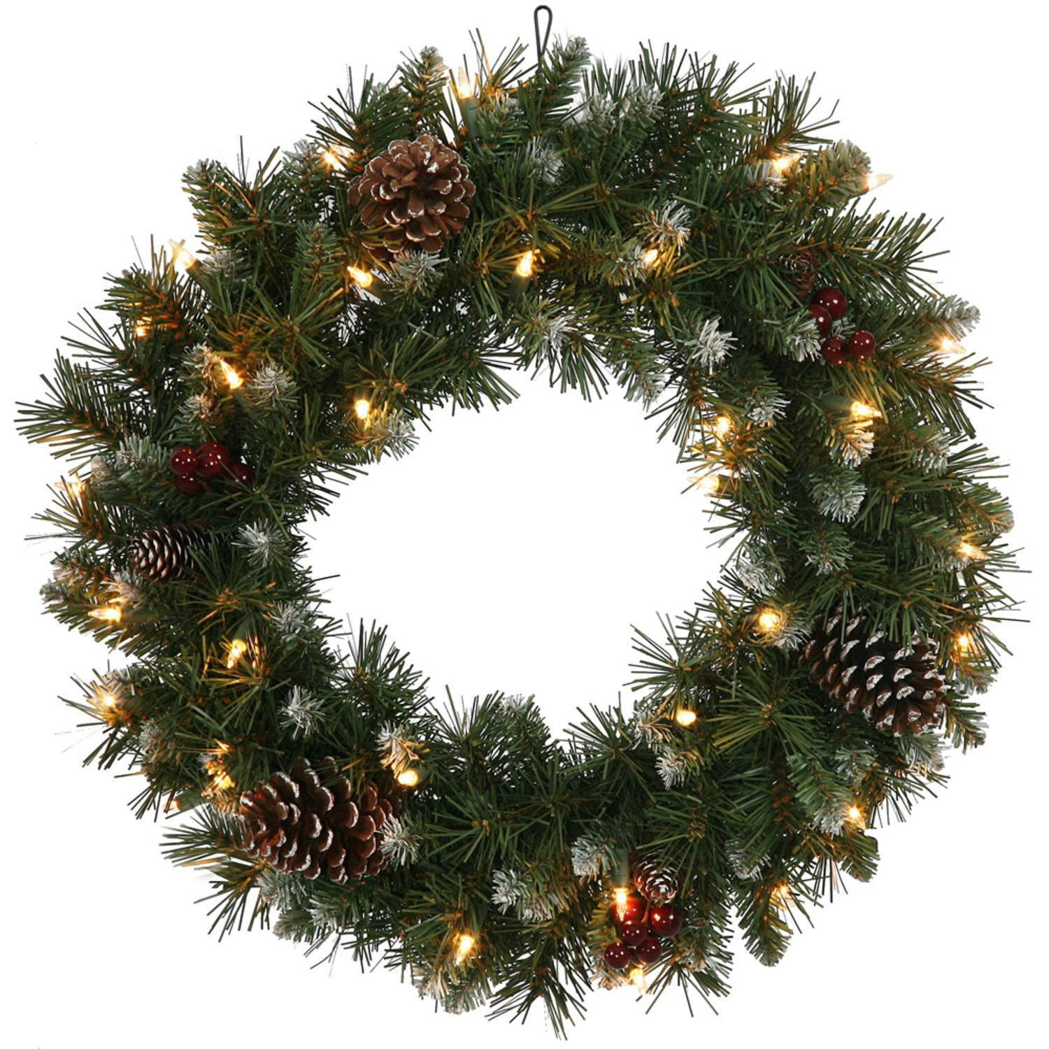 """24"""" Pre-Lit Frosted Ashberry Pine Artificial Christmas Wreath - Clear Lights"""