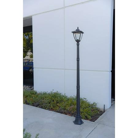 TruePower Cast Aluminum Solar Powered COB LED Streetlight Style Outdoor Light Lamp Post, Brushed Iron Rust finish for $<!---->