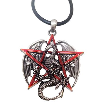 Pewter Star Charm - Gothic Red Pentagram Star Dragon Pewter Pendant Necklace Jewelry Accessory