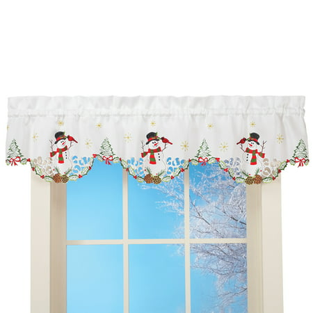 Snowman Cardinal Window Curtain Christmas Decoration, Valance ()