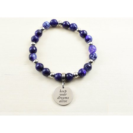 Genuine Agate Inspirational Bracelet - Purple - Keep your dreams alive