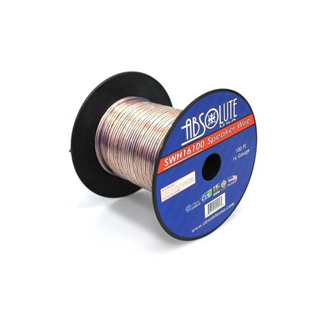 absolute usa swh16100 16 gauge car home audio speaker wire cable spool 100 39. Black Bedroom Furniture Sets. Home Design Ideas