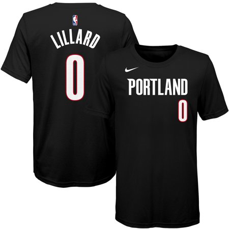 the best attitude 54bf8 87443 Damian Lillard Portland Trail Blazers Nike Youth Name & Number T-Shirt -  Black