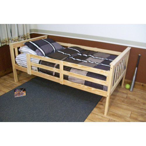 A Furniture Mission Slat Bed with Safety Rails