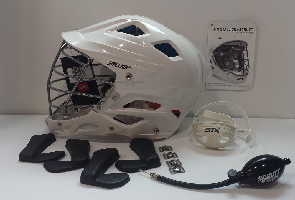 STX Lacrosse Stallion 500 Helmet White Helmet with Grey Face Mask, X-Large by