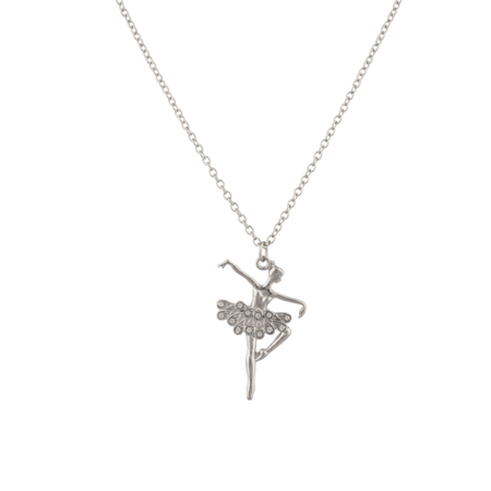 Lux Accessories Dancing Ballerina Swan Crystal Pave Dancer Pendant Necklace.