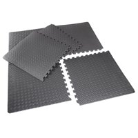 "CAP Barbell High Density Interlocking Puzzle Mat, 1/2"" Thick EVA Foam Exercise Gym Flooring, Black, 6 Pieces, 20.78 Sq Ft"
