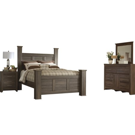 Ashley Furniture Juararo 4 PC Cal King Poster Bedroom Set Dark Brown -  Walmart.com