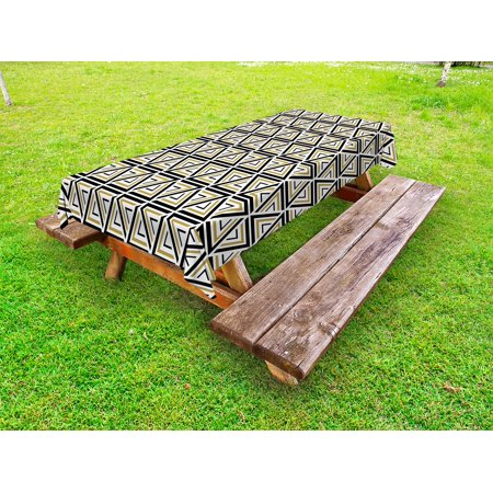 Abstract Outdoor Tablecloth, Geometric Triangle Pattern with Angled Stripes Mosaic Inspired Grid Design, Decorative Washable Fabric Picnic Table Cloth, 58 X 84 Inches,Tan Black White, by Ambesonne