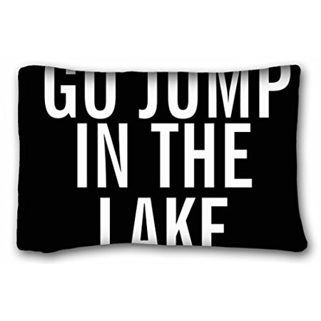 WinHome Black background with white go jump in the lake Pillowcase Pillow cover Size 20x30 inches Two Sided Print ()