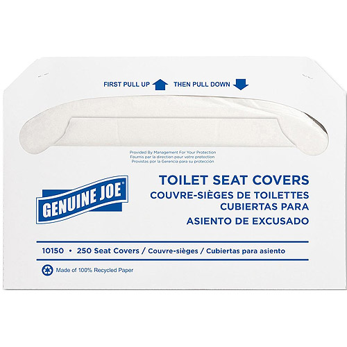 Genuine Joe Toilet Seat Covers, White, 250 count, 10 pack