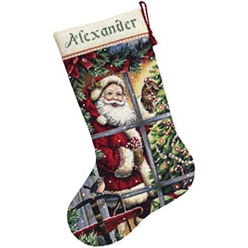 Candy Cane Santa Stocking Counted Cross-Stitch Kit, 16""