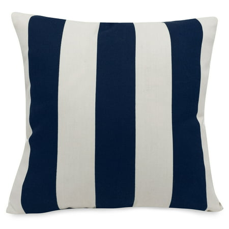 Majestic Home Goods Indoor Outdoor Navy Vertical Stripe Extra Large Decorative Throw Pillow 24 in L x 10 in W x 24 in H ()