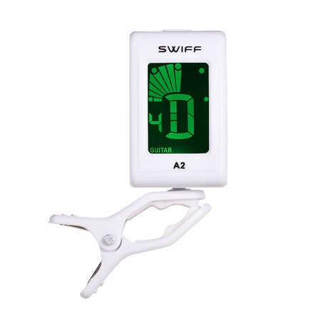 SWIFF A2 Automatic Digital Tone Tuner LCD Display Mini Clip-On Tuner Instrument Accessories for Bass Acoustic Electric Guitar Chromatic Violin Ukulele ()